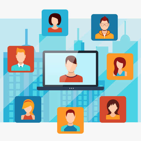 People connecting concept, social media networks. Vector illustration Çizim