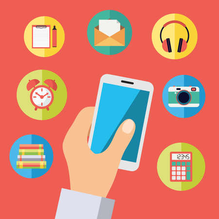 Hand holding cell phone with icons. Vector concept