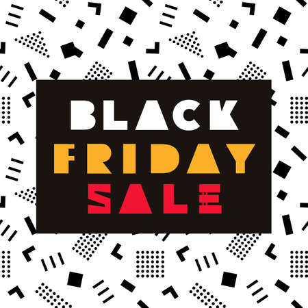 Black Friday Sale modern banner template in Memphis Style. Big Sale. Special offer. Shopping background. Vector illustration. Çizim