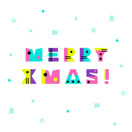 Merry Christmas in retro 80s-90s style. Memphis trendy art. Abstract poster, surface, card design
