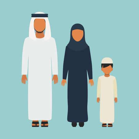 Arabic Family in traditional clothes, flat style