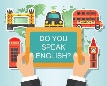 Do You Speak English. English Course Banner design with London landmarks. Studying English Concept Çizim