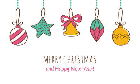 Merry Christmas and Happy New Year Greeting Card. Vector illustration Çizim