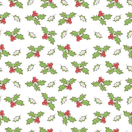 Christmas Mistletoe Seamless pattern background. Vector Illustration