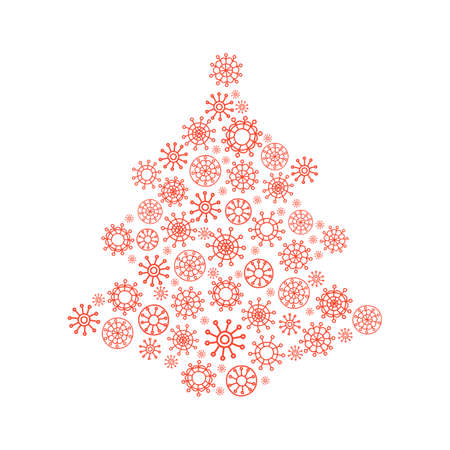 Christmas tree made from snowflakes. Vector illustration.