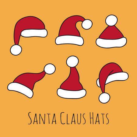 Santa Claus Hats on yellow background.