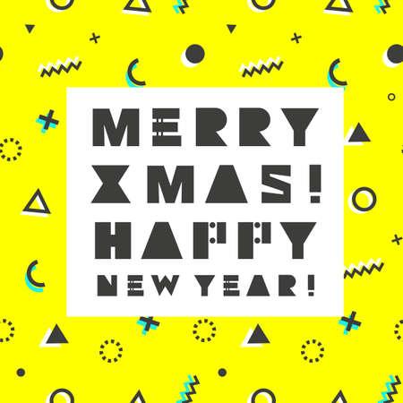 Merry Christmas. Happy New Year card in retro 80s-90s style. Memphis trendy art. Çizim