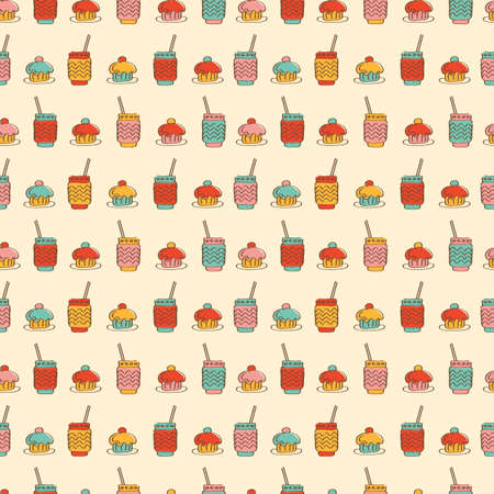 Seamless pattern with cupcake coffee or tea icons.