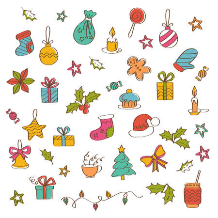 Christmas background with hand drawn icons. Greeting card design Çizim