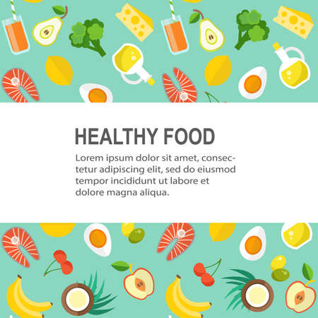 Healthy food template. Organic products concept. Flat style design