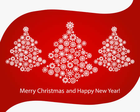 Christmas Greeting Card. Merry Christmas and Happy New Year. Christmas trees made from snowflakes. Çizim