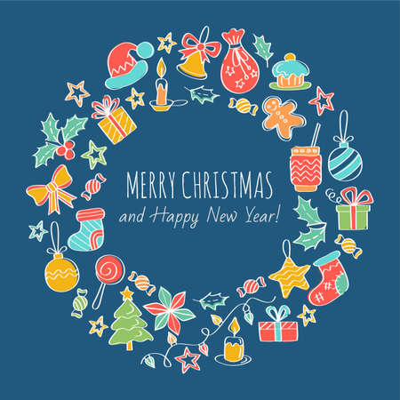 postcard box: Merry Christmas and Happy New Year Greeting Card. Christmas wreath