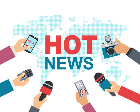 Hot news, mass media, journalism concept. illustration of many hands with microphones, recorders Çizim