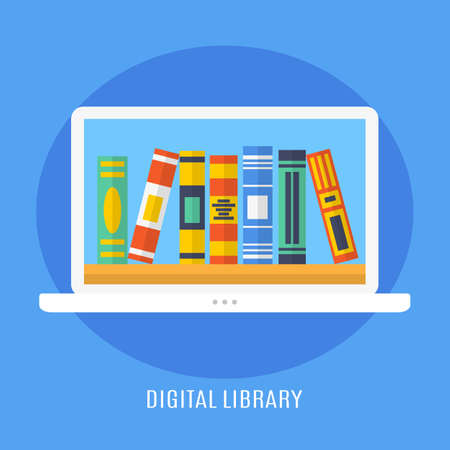 digital library: Digital Library, Online Education Concept, E-Learning Illustration