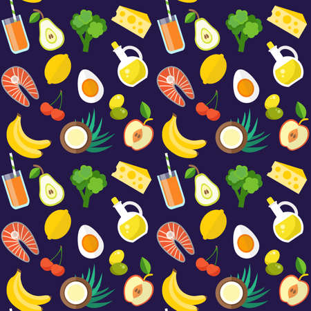 Healthy food pattern. Organic products concept. Flat style design illustration