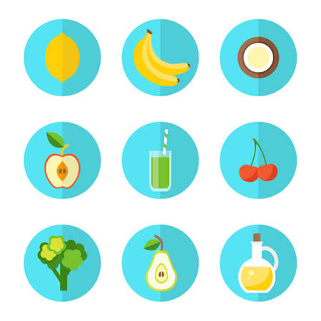 Healthy food icons. Organic products concept. Flat style design illustration