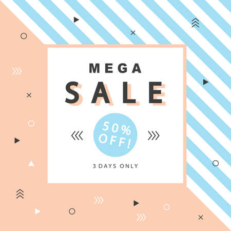 mega sale: Mega Sale banner with geometric shapes in scandinavian, swiss, 80s, 90s trendy style. Special offer, discount concept. Typographic design poster template for your business.