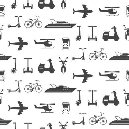seamless pattern with transportation icons silhouettes, isolated on white. Delivery concept. Website background, kids print.