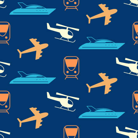 seamless pattern with transportation icons silhouettes. Logistics, delivery service. Website background, design elements, kids wallpaper, textile print.