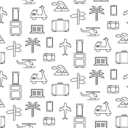 seamless pattern with Travel vacation icons set, isolated on white. Linear art, flat style modern design. Tourism concept. Wallpaper, website background. Design elements. Surface design Çizim