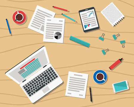 Flat Style Modern Design of Office Workplace. Icons set of business work flow items and gadgets on desk. Working or studying concept. Top view. Vector Illustration