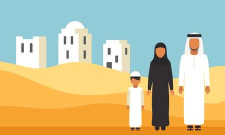 Famiglia arabo in abiti tradizionali in dune del deserto Vettoriali