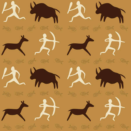 Vector Seamless Pattern with Cave Drawings Theme