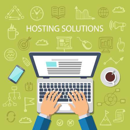 Hosting Solutions Concept. Flat style web banner with doodle icons in background, top view. Vector illustration.