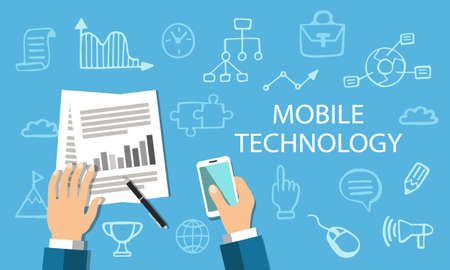 Mobile technology concept, flat style web banner with doodle icons. Çizim