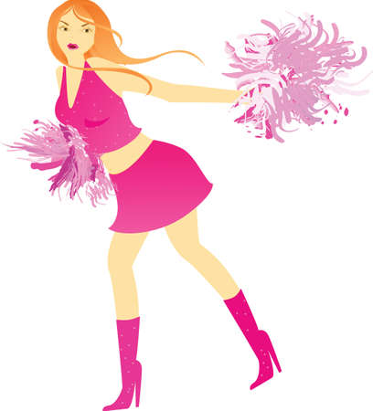 Cheerleader dance with pompons Vector