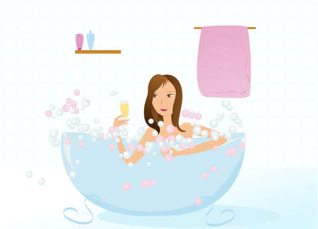Pretty girl taking bubble bath with glass of champagne illustration Vector