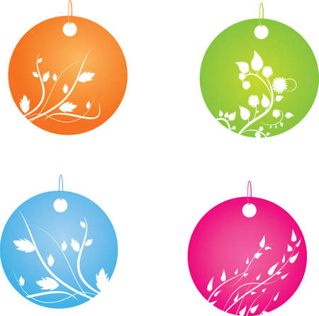 Vector illustration of four round badges with floral decorative ornament Vector