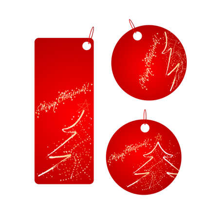 Set of vector three red badges with sparkling christmas design Vector