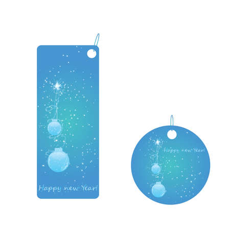 Set of two christmas badges with sparkling and christmas ball Vector