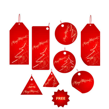 Set of sparkling red christmas tags mega pack Vector
