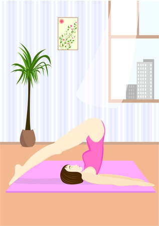 sport mats: Young woman doing the yoga pose Hala Asana or Plough Pose in home