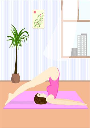 flexible girl: Young woman doing the yoga pose Hala Asana or Plough Pose in home