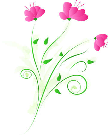 Vector floral decorative ornament with three pink flower Çizim