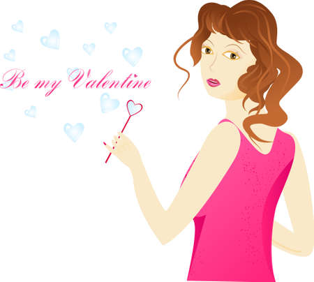 Girl is pink clothes using a pink blower in heart shape for hearts soap bubbles. With sign  Vector