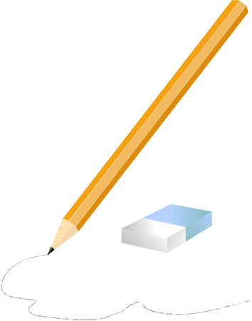 School vector pencil and eraser on white background Vector