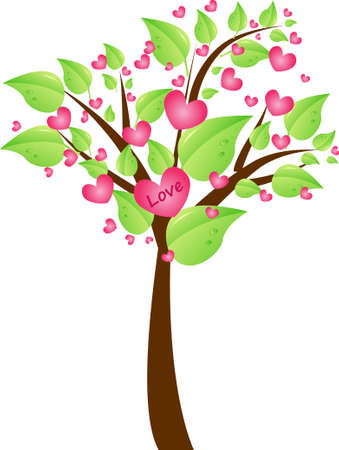 recycle symbol vector: Valentine tree with pretty green leaves and hearts in tree crown with sign