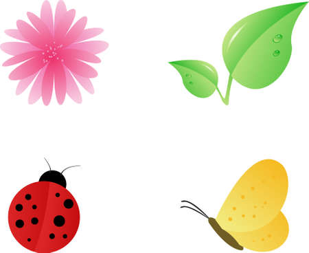 Nature design elements set: pink flower, two leafs, ladybug, yellow butterfly Vector