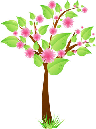 Spring tree with green leaves and pink flowers. Vector illustration. Vector