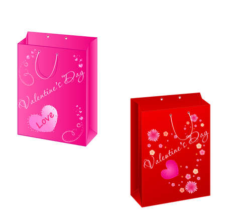 packets: Set of two shopping valentines paper packets Illustration