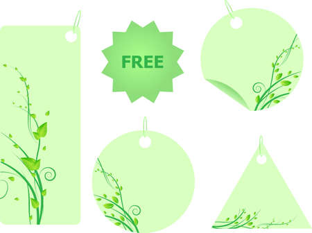 Set of five green floral labels with swirl design and leaves Vector