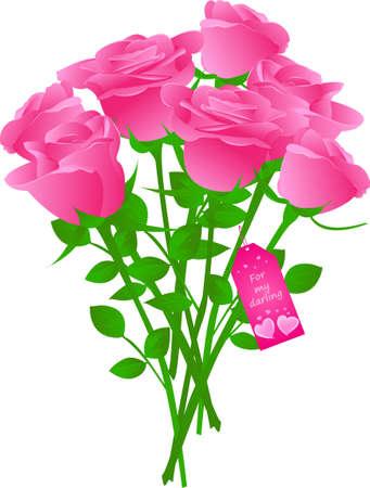mazzo di fiori: Vector bouquet di Rose con etichetta regalo con parole  Vettoriali