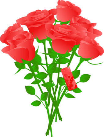 Vector bouquet of red roses with heart gift tag