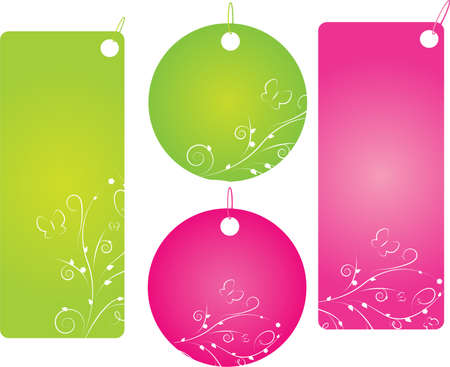 Set of four floral shopping labels in green and pink color. Round and rectangle shape. Vector