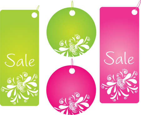 buttefly: Set of four shopping labels with pretty design in green and pink color Illustration