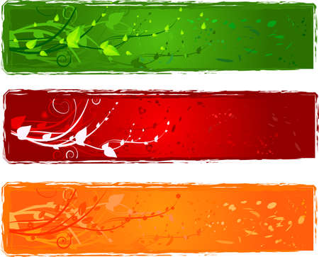 vector banners or headers: Three banner with swirl design in bright colors